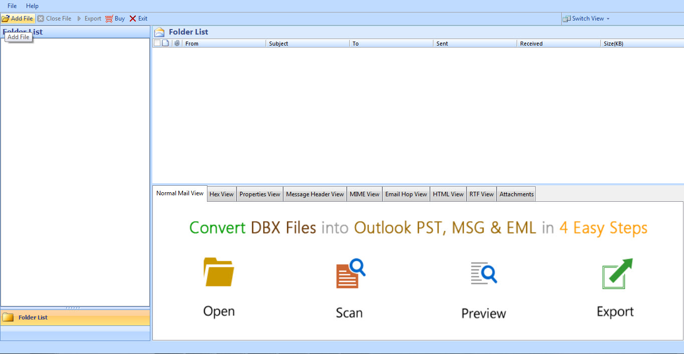 Import dbx file to windows live mail 2.0